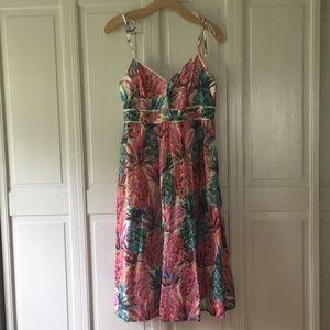 JCrew midi sundress Pink Pineapple print